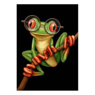 Cute Green Tree Frog with Eye Glasses on Black Large Business Card