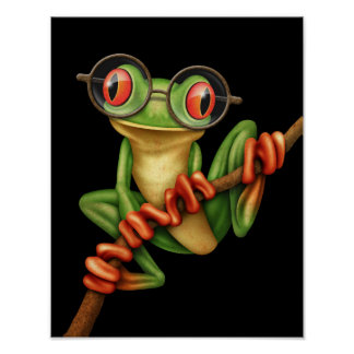 Cute Green Tree Frog with Eye Glasses on Black Poster