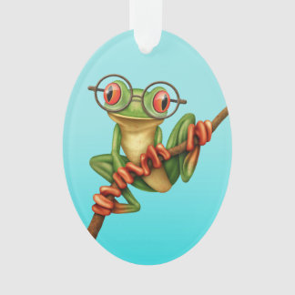 Cute Green Tree Frog with Eye Glasses on Blue Ornament