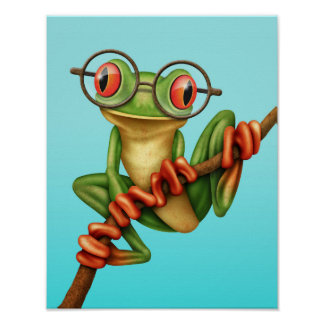 Cute Green Tree Frog with Eye Glasses on Blue Poster