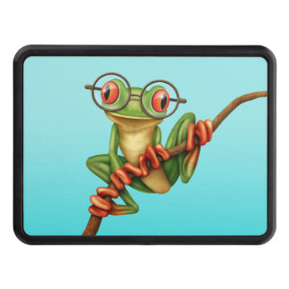 Cute Green Tree Frog with Eye Glasses on Blue Tow Hitch Cover