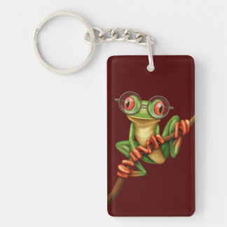 Cute Green Tree Frog with Eye Glasses on Red Acrylic Keychain