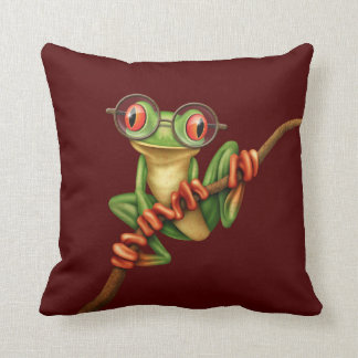 Cute Green Tree Frog with Eye Glasses on Red Throw Pillow