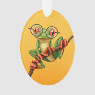 Cute Green Tree Frog with Eye Glasses on Yellow Ornament