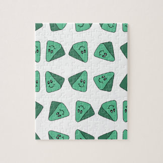 Cute Green Triangle Tile Jigsaw Puzzle