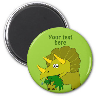Cute Green Triceratops Cartoon Dinosaur 2 Inch Round Magnet