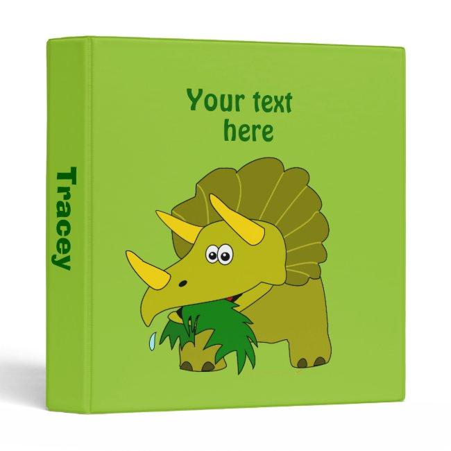 Cute Green Triceratops Cartoon Dinosaur