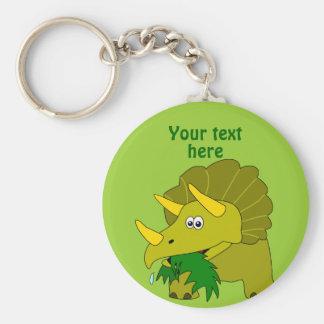 Cute Green Triceratops Cartoon Dinosaur Basic Round Button Keychain