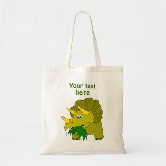 Cute Green Triceratops Cartoon Dinosaur Budget Tote Bag