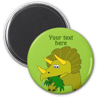 Cute Green Triceratops Cartoon Dinosaur Magnet
