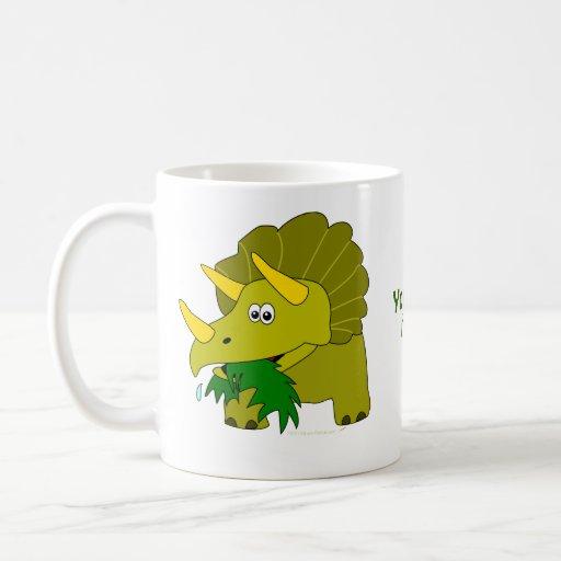 Cute Green Triceratops Cartoon Dinosaur Classic White Coffee Mug