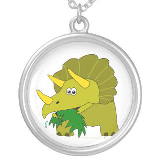 Cute Green Triceratops Cartoon Dinosaur Round Pendant Necklace