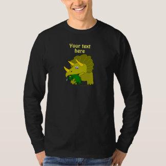 Cute Green Triceratops Cartoon Dinosaur T Shirt