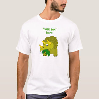 Cute Green Triceratops Cartoon Dinosaur T-Shirt
