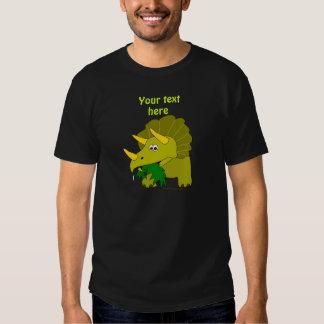Cute Green Triceratops Cartoon Dinosaur Tee Shirt