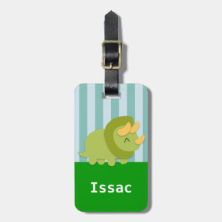 Cute Green Triceratops Dinosaur for kids Bag Tag