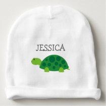 Cute green turtle baby beanie hat with custom name