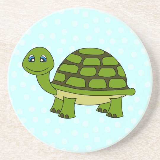 Cute Green Turtle Cartoon with Dots Coaster