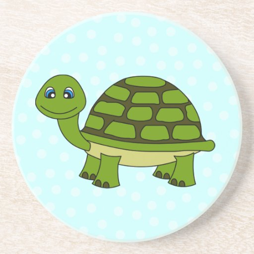 Cute Green Turtle Cartoon with Dots Coasters
