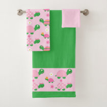 Cute Green Turtle on Colorful Pink Bath Towel Set