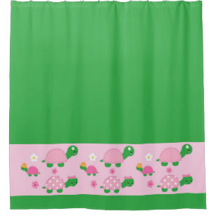 Cute Green Turtle On Colorful Pink Shower Curtain