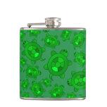 Cute green turtle pattern flask