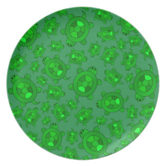 Cute green turtle pattern party plate