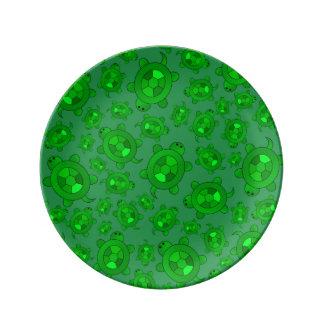 Cute green turtle pattern porcelain plate