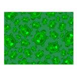 Cute green turtle pattern postcard