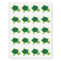 Cute Green Turtle Temporary Tattoos