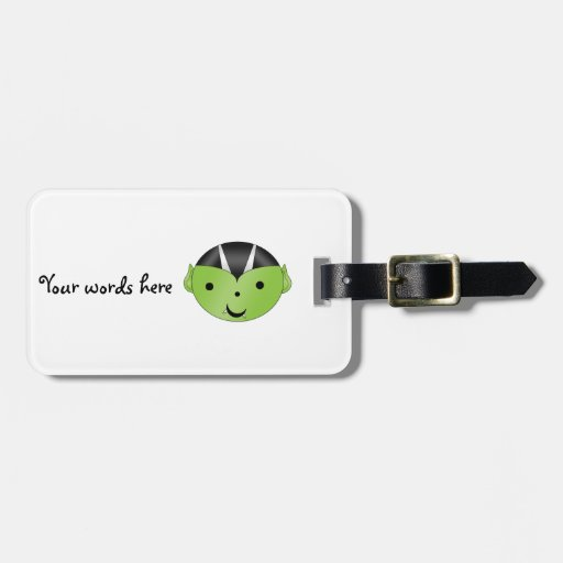 Cute green vampire tags for bags