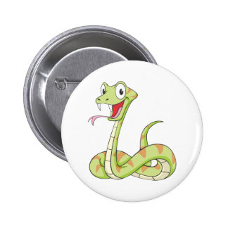 Cute Green Viper Snake Cartoon Shirt 2 Inch Round Button