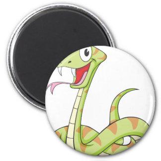 Cute Green Viper Snake Cartoon Shirt 2 Inch Round Magnet