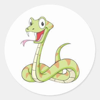 Cute Green Viper Snake Cartoon Shirt Classic Round Sticker
