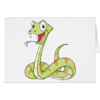 Cute Green Viper Snake Cartoon Shirt Greeting Card
