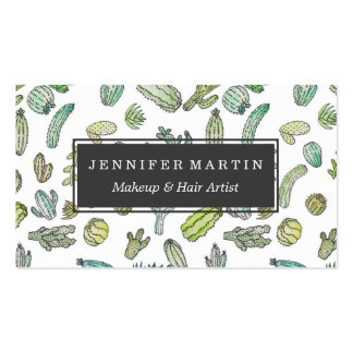 Cute Green Watercolor Paint Summer Cactus Pattern Business Card