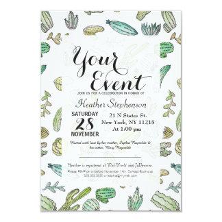 Cute Green Watercolor Paint Summer Cactus Pattern Card