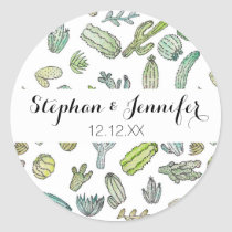 Cute Green Watercolor Paint Summer Cactus Pattern Classic Round Sticker