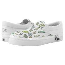 Cute Green Watercolor Paint Summer Cactus Pattern Slip-On Sneakers