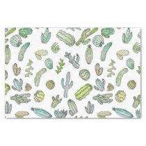 Cute Green Watercolor Paint Summer Cactus Pattern Tissue Paper