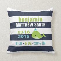 Cute Green Whale Decorative Nursery Throw Pillow