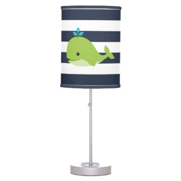 heartlocked Cute Green Whale Nursery Table Lamp