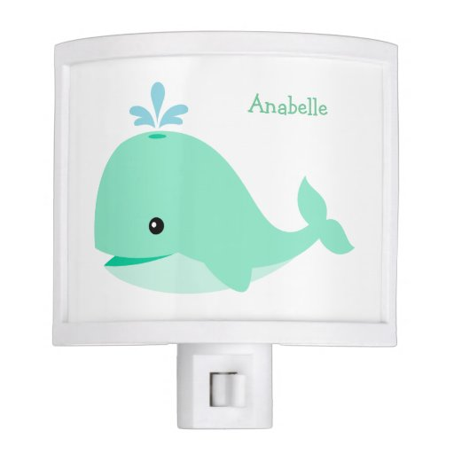 Cute Green Whale Personalized Night Light