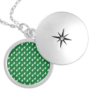 Cute green white cat pattern round locket necklace