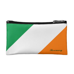 Cute Green White Orange Stripes Cosmetic Bag at Zazzle