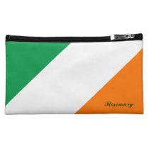 Cute Green White Orange Stripes Cosmetic Bag (Med) at Zazzle