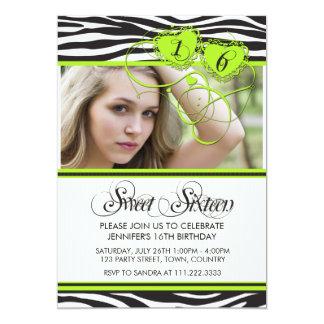 CUTE GREEN WHITE ZEBRA PRINT SWEET SIXTEEN CARD