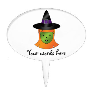 Cute green witch cake pick
