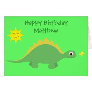 Cute Green & Yellow Dinosaur Birthday Card