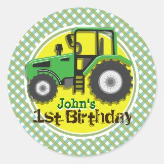 Cute Green Yellow Farm Tractor Plaid Birthday Round Stickers